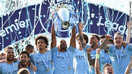 Manchester City retained the English Premier League on Sunday.