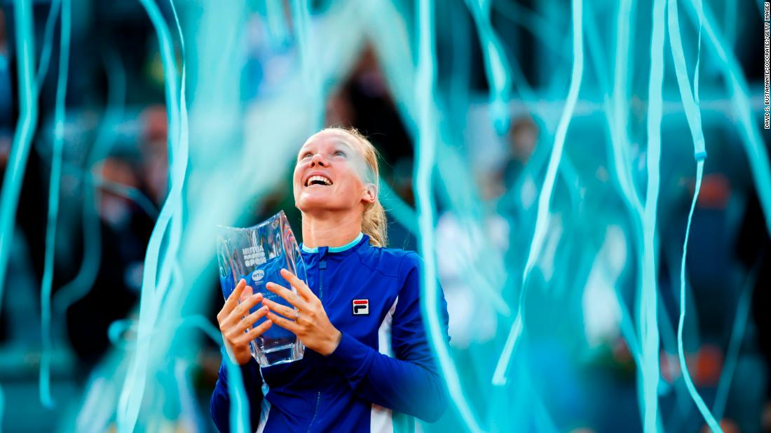 Kiki Bertens celebrates after winning the Madrid Open tennis final against Simona Halep of Romania on May 11 in Madrid.
