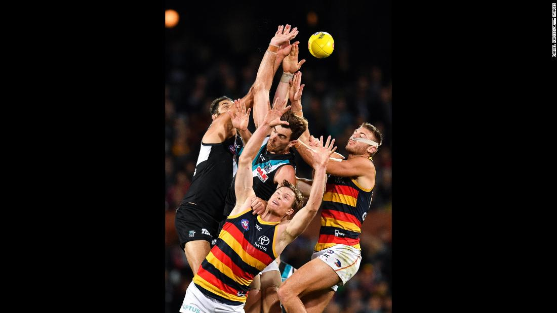 Alex Keath of the Crows competes for the ball during the round eight AFL match between Port Adelaide and the Adelaide Crows on May 11 in Adelaide, Australia.