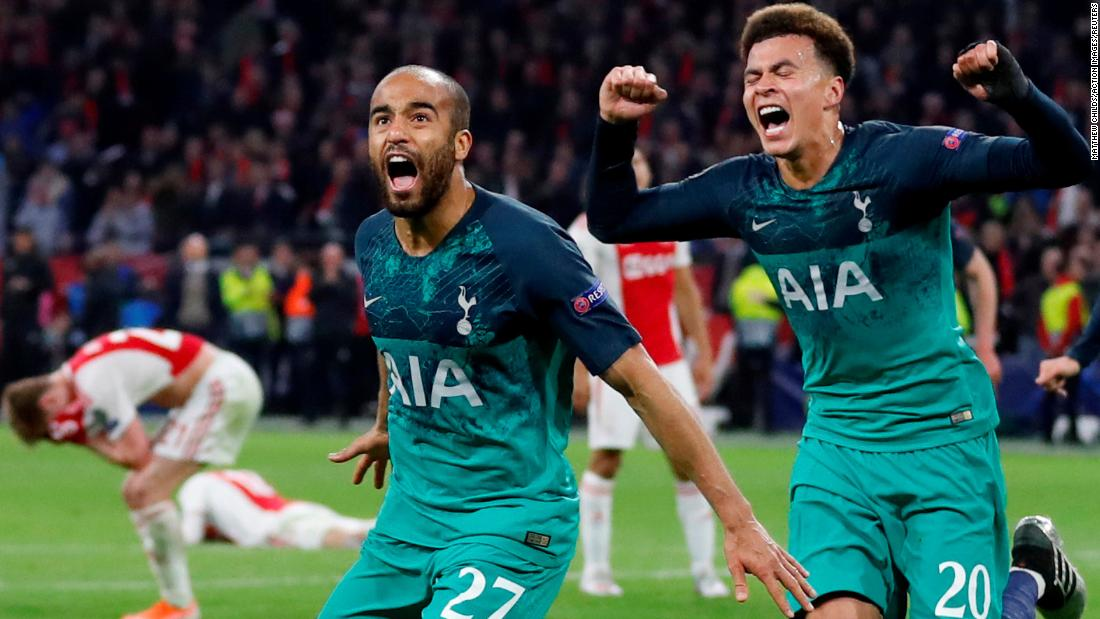 Tottenham's Lucas Moura and Dele Alli celebrate scoring their third goal against Amsterdam on May 8.