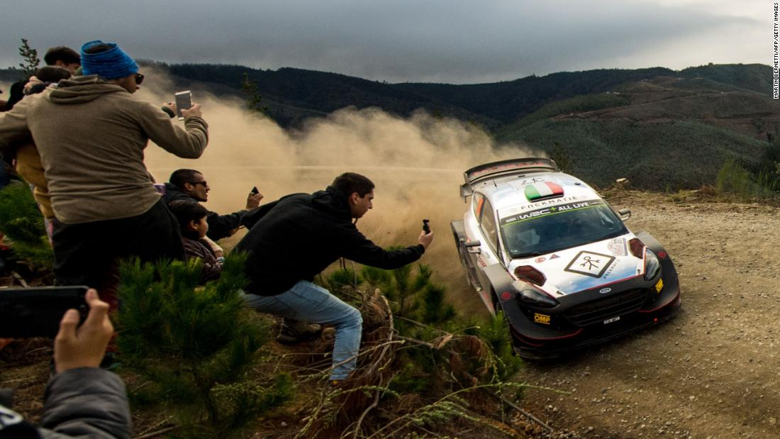 Italian driver Lorenzo Bertelli steers his M-Sport Ford WRT with his compatriot co-driver Simone Scattolin during the SS12 of the WRC Chile 2019 near Pelun, Chile on May 11, 2019.