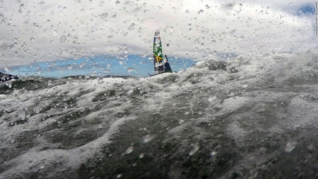 The Australian SailGP team races their F50 catamaran during the SailGP races on the San Francisco Bay in San Francisco, California, on May 5, 2019. The Australian team went on to win the SailGP San Francisco Championship after competing against competitors from Great Britain, The United States, France, China and Japan.