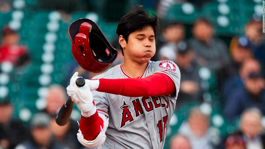 Los Angeles Angels designated hitter Shohei Ohtani (17) loses his helmet swinging at a pitch in the first inning against the Detroit Tigers at Comerica Park on May 7.