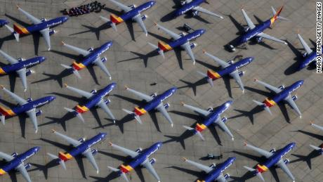 VICTORVILLE, CA - MARCH 27:  A number of Southwest Airlines Boeing 737 MAX aircraft are parked at Southern California Logistics Airport on March 27, 2019 in Victorville, California. Southwest Airlines is waiting out a global grounding of MAX 8 and MAX 9 aircraft at the airport.  (Photo by Mario Tama/Getty Images)
