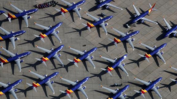 A number of Southwest Airlines Boeing 737 MAX aircraft are parked at Southern California Logistics Airport on March 27, 2019 in Victorville, California. Southwest Airlines is waiting out a global grounding of MAX 8 and MAX 9 aircraft at the airport.  (Photo by Mario Tama/Getty Images)