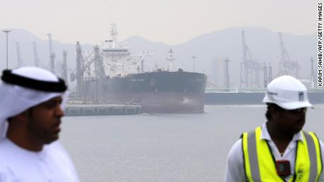 A tanker is seen at the oil terminal of Fujairah during the inauguration ceremony of a dock for supertankers on September 21, 2016. The oil terminal at Fujairah inaugurated a dock for supertankers, the first of its kind in OPEC member the United Arab Emirates. The facility enables the terminal to receive tankers measuring 334 metres (yards) and weighing 330,000 tonnes, port director Mussa Murad said. / AFP / KARIM SAHIB        (Photo credit should read KARIM SAHIB/AFP/Getty Images)