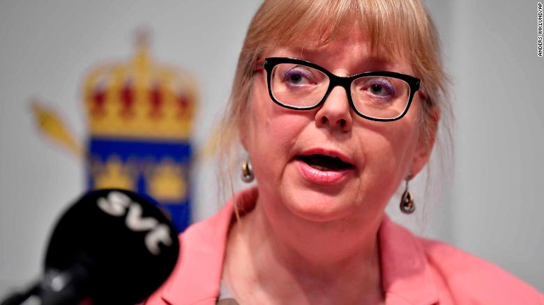 Eva-Marie Persson speaks at a press conference in Stockholm on Monday.