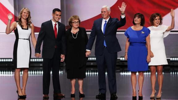 The Pence family on stage on the third day of the 2016 Republican National Convention in Cleveland, Ohio. From left: daughter-in-law Sarah, son Michael, mother Nancy, the vice president, wife Karen and daughter Charlotte.