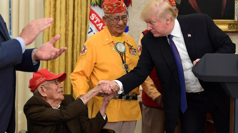 President Donald Trump met with Navajo Code Talker Fleming Begaye Sr., seated, in the White House in Washington, DC on Nov. 27, 2017.