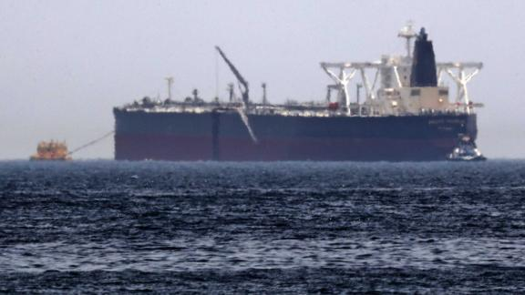 """A Monday photo shows the oil tanker """"Amjad,"""" one of two Saudi-owned vessels Riyadh says were sabotaged."""
