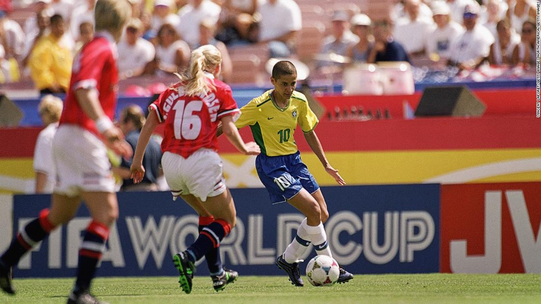 Brazil played Norway in the third-place playoff. Sissi (pictured) would share the Golden Boot award with China's Sun Wen after both players finished the tournament with seven goals.