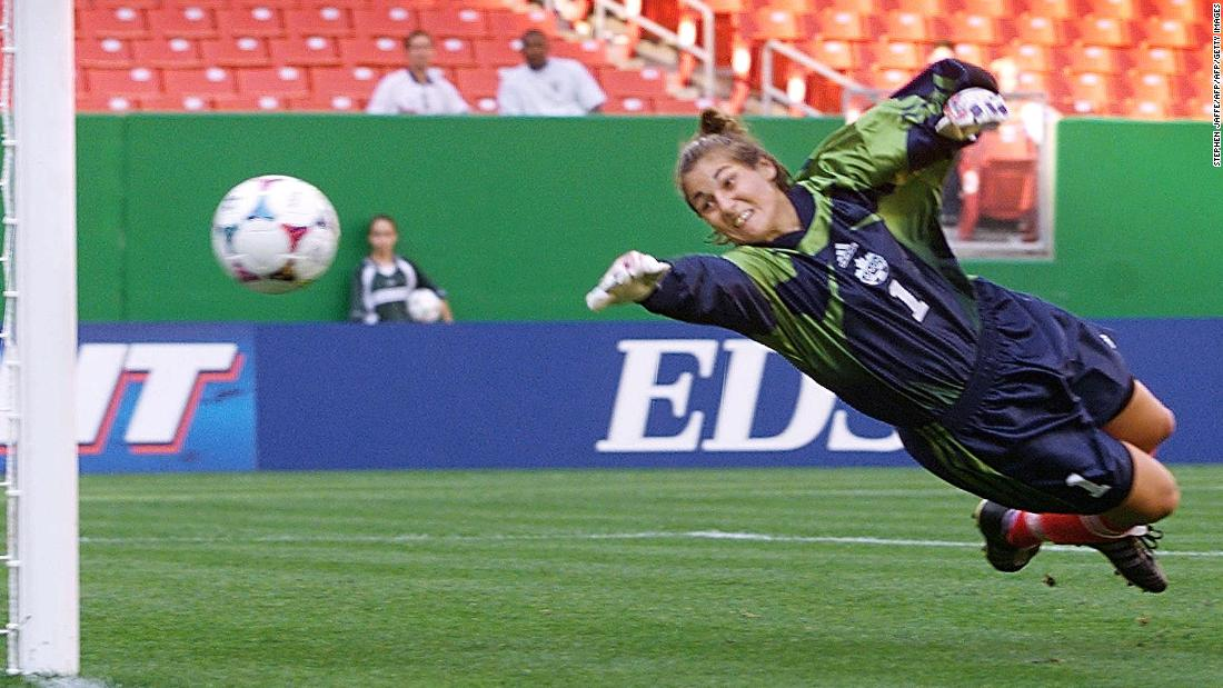 Canada's goalkeeper Nicci Wright at full stretch against Norway in Maryland, a group match Norway would win 7-1.