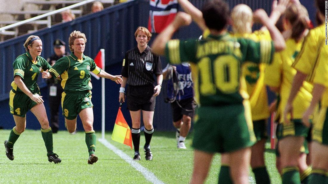 Australia's Julie Murray rushes her bench after scoring in the second half against Ghana. Australia drew 1-1 and finished third in Group D.