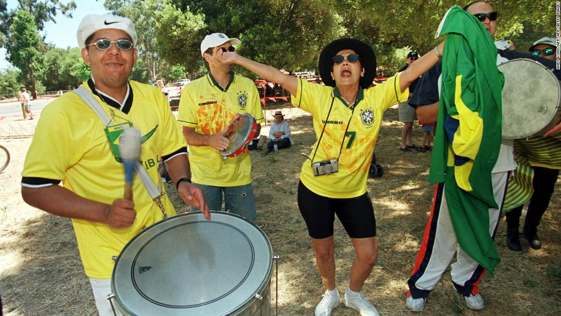After a thrilling win, Brazilian fans danced and played the drums prior to the semi-final match against USA on July 4 at Stanford Stadium.