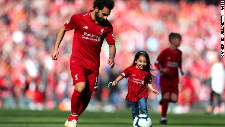 Liverpool supporters could have a new song ... Mo Salah and his daughter running down the wing ...