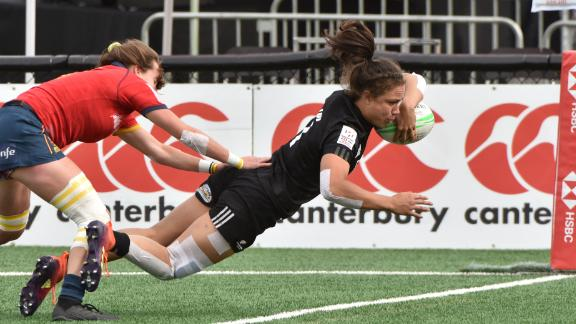 """The Black Ferns recorded their fourth title of the season in Langford, Canada, after beating Australia 21-17 in the final. Ruby Tui (pictured) made the tournament's <a href=""""https://twitter.com/WorldRugby7s/status/1127728606124412930"""" target=""""_blank"""" target=""""_blank"""">Dream Team</a>."""