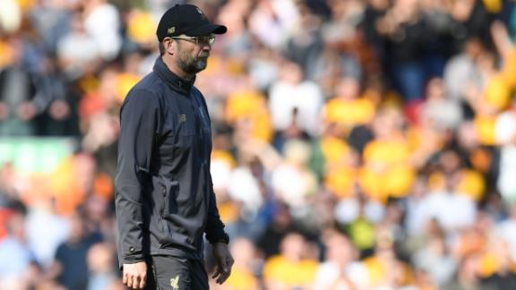 Liverpool's German manager Jurgen Klopp reacts at the end of the match against Wolves.