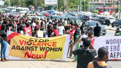 Women during a protest against the raids in Abuja on May 10.