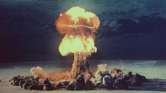 """Radioactive carbon from nuclear tests has been found in the ocean. The 37 kiloton """"Priscilla"""" nuclear test was detonated at the Nevada Test Site in 1957."""
