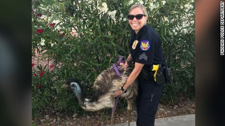 A Phoenix police officer poses with the escapee.