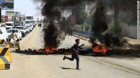 Angry demonstrators blocked a major avenue along the Nile river