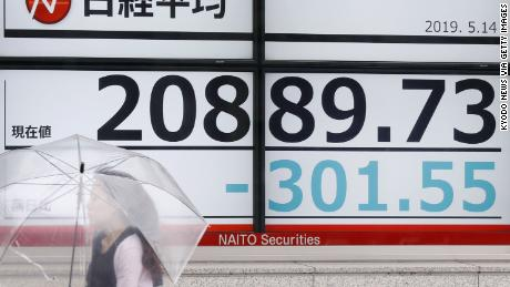 A stock price monitor in Tokyo's Chuo ward shows the 225-issue Nikkei Stock Average falling below the 21,000 line in the morning of May 14, 2019 amid escalating trade conflicts between the United States and China. (Kyodo) ==Kyodo (Photo by Kyodo News via Getty Images)