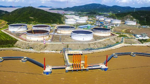 Zhoushan port,the 450,000-ton crude oil import terminal come into service on August 28, 2018 in Zhoushan, Zhejiang, China.