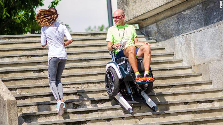 The Scewo wheelchair has rubber tracks that can climb stairs