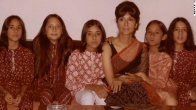 Sakina Jaffrey (first on left) with her sisters, cousins and her mother, Madhur Jaffrey (third from left) in Delhi, India.