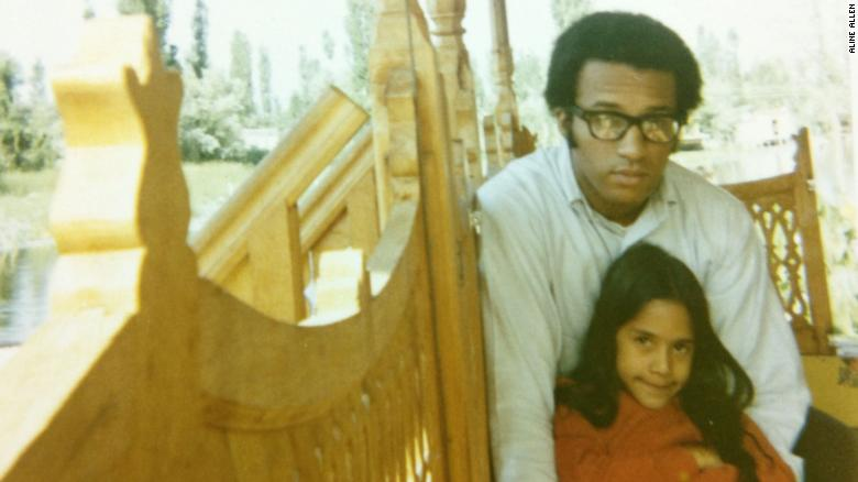 Sakina Jaffrey with her adoptive father, violinist Sanford Allen, in Kashmir.