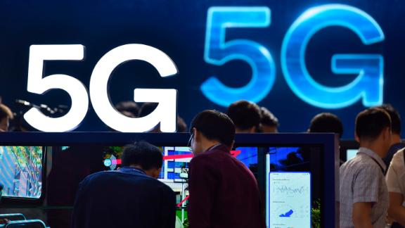 View of logos of 5G during an expo in Shenzhen city, south China's Guangdong province, April 10, 2019.