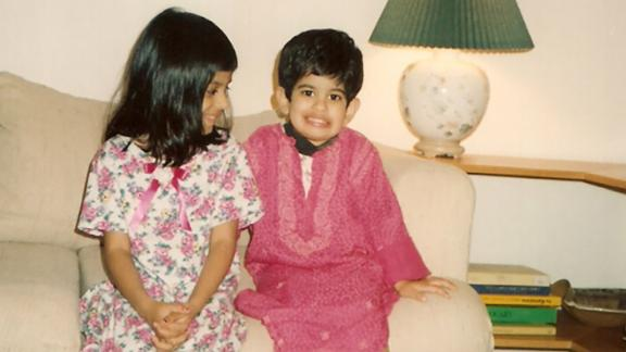 Alok Vaid-Menon as a child with their older sister, Alka, in Texas, US.