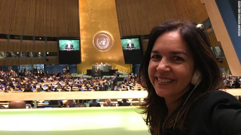 Lisa Singh at the UN General Assembly while an Observer for the Australian Parliament at the UN in 2016.