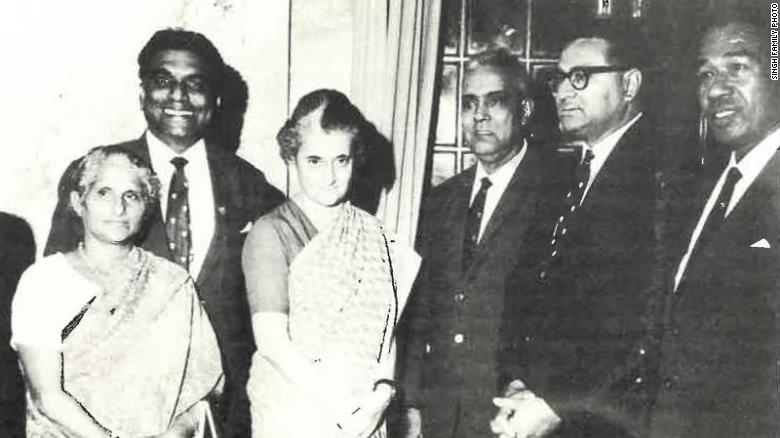 Lisa Singh's grandfather, Ram Jati Singh (fourth from left), meets former Indian PM Indira Gandhi (third from left) in the 1970s.
