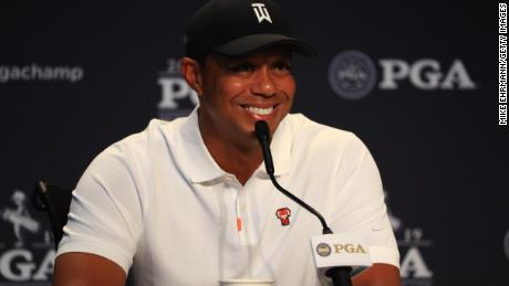 BETHPAGE, NEW YORK - MAY 14: Tiger Woods of the United States speaks to the media during a press conference prior to the 2019 PGA Championship at the Bethpage Black course on May 14, 2019 in Bethpage, New York. (Photo by Mike Ehrmann/Getty Images)