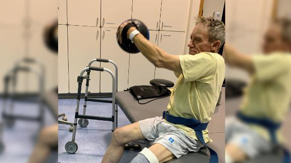 Kaser undergoes physical thearpy to get stronger after losing his leg.