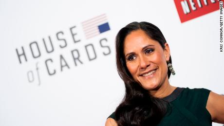 "Sakina Jaffrey poses on the red carpet during the ""House Of Cards"" screening at NEWSEUM on January 29, 2013 in Washington, DC."