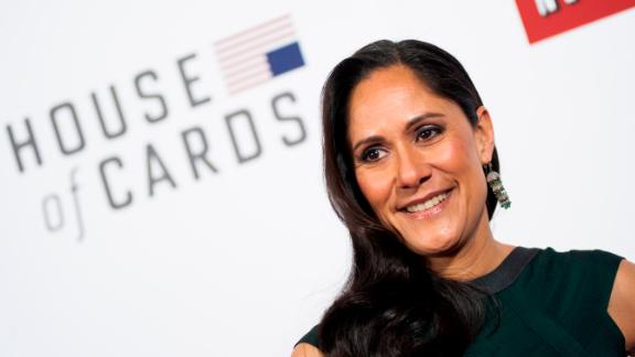 """Sakina Jaffrey poses on the red carpet during the """"House Of Cards"""" screening at NEWSEUM on January 29, 2013 in Washington, DC."""