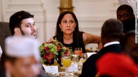 Sakina Jaffrey attends the annual Iftar dinner celebrating the Muslim holy month of Ramadan hosted by ex-US President Barack Obama in the White House on July 22, 2015 in Washington, DC.