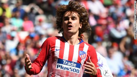 Atletico Madrid's French forward Antoine Griezmann reacts after missing a goal opportunity during the Spanish League football match between Atletico Madrid and Real Valladolid at the Wanda Metropolitan stadium in Madrid on April 27, 2019. (Photo by GABRIEL BOUYS / AFP)        (Photo credit should read GABRIEL BOUYS/AFP/Getty Images)