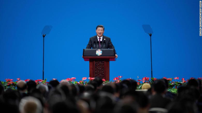 Chinese president Xi Jinping delivers a speech during the opening ceremony of the Conference on Dialogue of Asian Civilizations at the National Convention Center in Beijing on May 15.