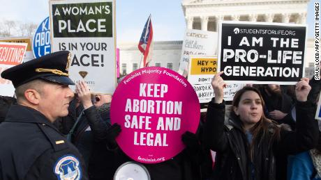 Pro-choice and anti-abortion activists held signs outside the US Supreme Court in January.