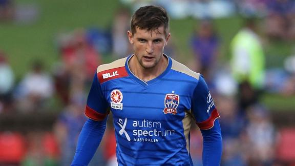 Andy Brennan during the round 25 A-League match between the Newcastle Jets and the Perth Glory at Hunter Stadium on March 26, 2016 in Newcastle, Australia.