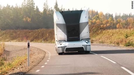 This self-driving truck is now being tested on a stretch of public road in Sweden.