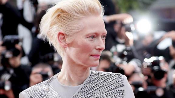 Tilda Swinton looked otherworldly in a floor-length silver gown.
