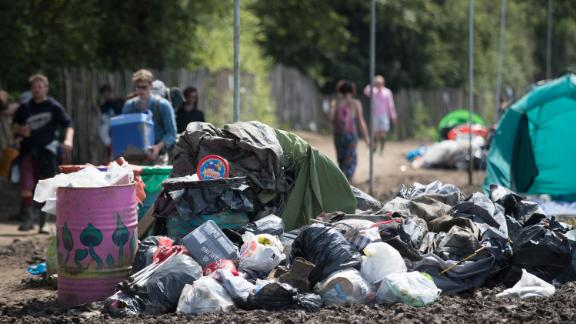 Heaps of rubbish left behind at Glastonbury Festival in the UK in 2016.