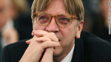 Alliance of liberals and Democrats for Europe (ALDE) group leader and Belgian member of the European Parliament Guy Verhofstadt looks on during the election for the office of the President at the European Parliament in Strasbourg, eastern France, on January 17, 2017. / AFP / FREDERICK FLORIN        (Photo credit should read FREDERICK FLORIN/AFP/Getty Images)