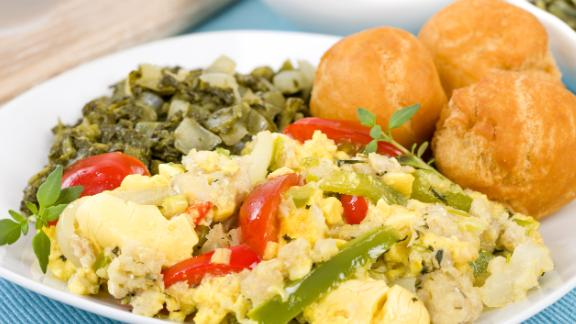 Jamaica: Ackee, a delicately sweet pear-shaped fruit, is sautéed with salt cod, tomatoes, garlic, chilies and onion in a breakfast scramble that brings together sweet, salty, and spicy for a one-of-a-kind island taste.