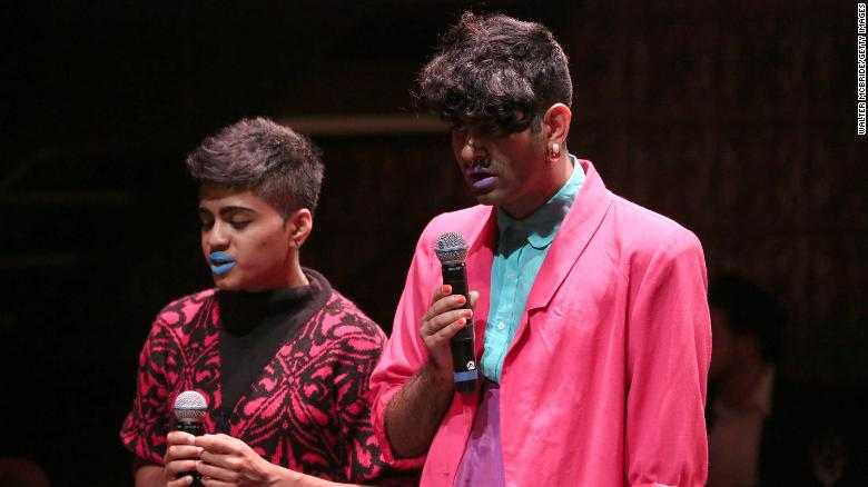 Janani Blasubramanian and Alok Vaid-Menon on stage at La Mama Theatre on November 2, 2015 in New York City.