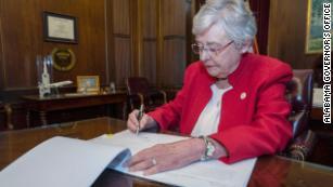 Gov. Kay Ivey signing Alabama abortion bill.